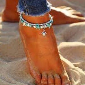 Jewelry - Boho Ankle Bracelet Beaded Turquoise Turtle Charm